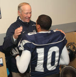 Wolf Pack head coach Chris Ault and quarterback Colin Kaepernick celebrate in the moments following Nevada's improbable 34-31 overtime victory over third-ranked Boise State on Nov. 26.photo taken by unr.edu